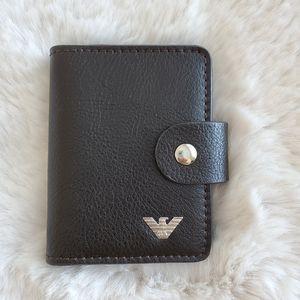 NWOT Giorgio Armani leather card holder